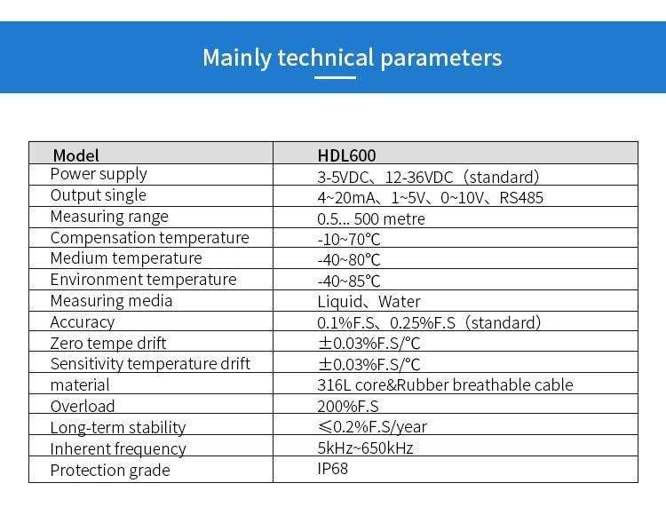 Digital  boiler water Diesel Fuel Tank Level Sensor 4-20mA Deep Well Water Level Meter